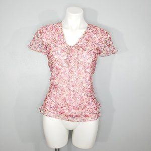 Anne Carson Floral Silk Sequined Top